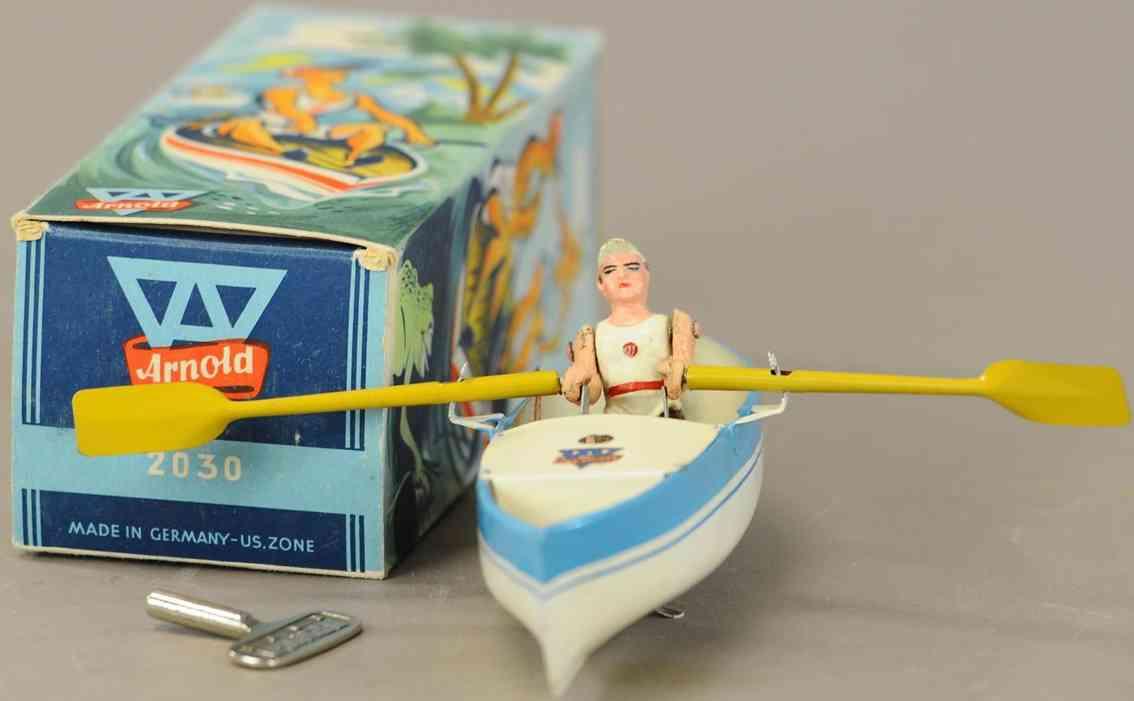 arnold 2030 blech spielzeug ruderboot uhrwerk weiss blau