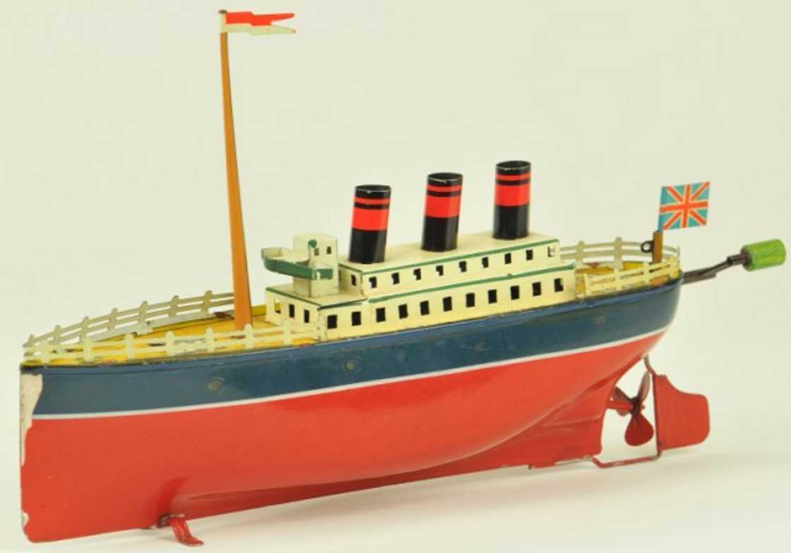 arnold 700/3 blech spielzeug schiff ozeandampfer rot weiss