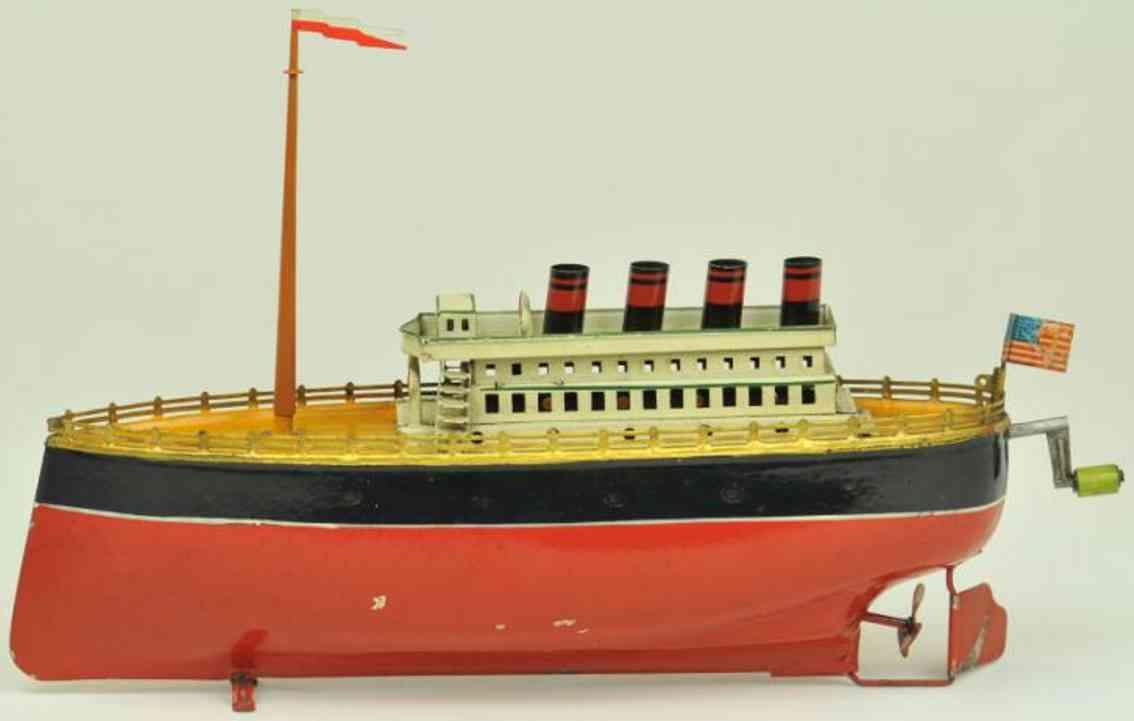 arnold 700/4 tin toy ship ocean liner red black interia motor