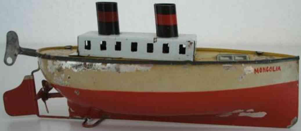 arnold 700/000 blech spielzeug schiff dampfer uhrwerk mongolia