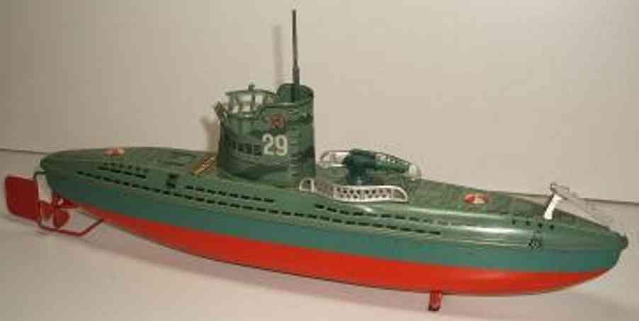 arnold tin toy submarine u29 clockwork
