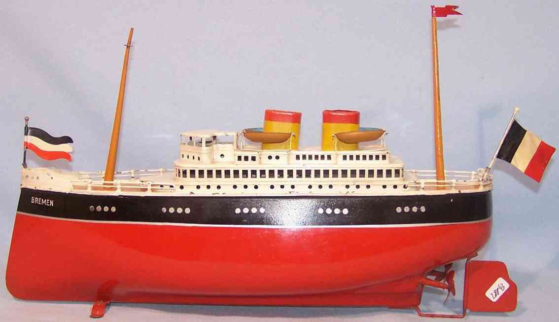 arnold tin toy ship steamer with two screws bremen