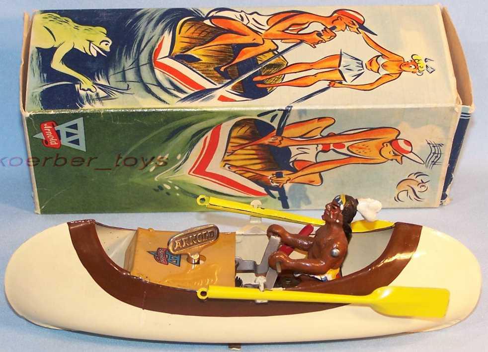 arnold 2045 blech spielzeug kanu mit indianer beige braun