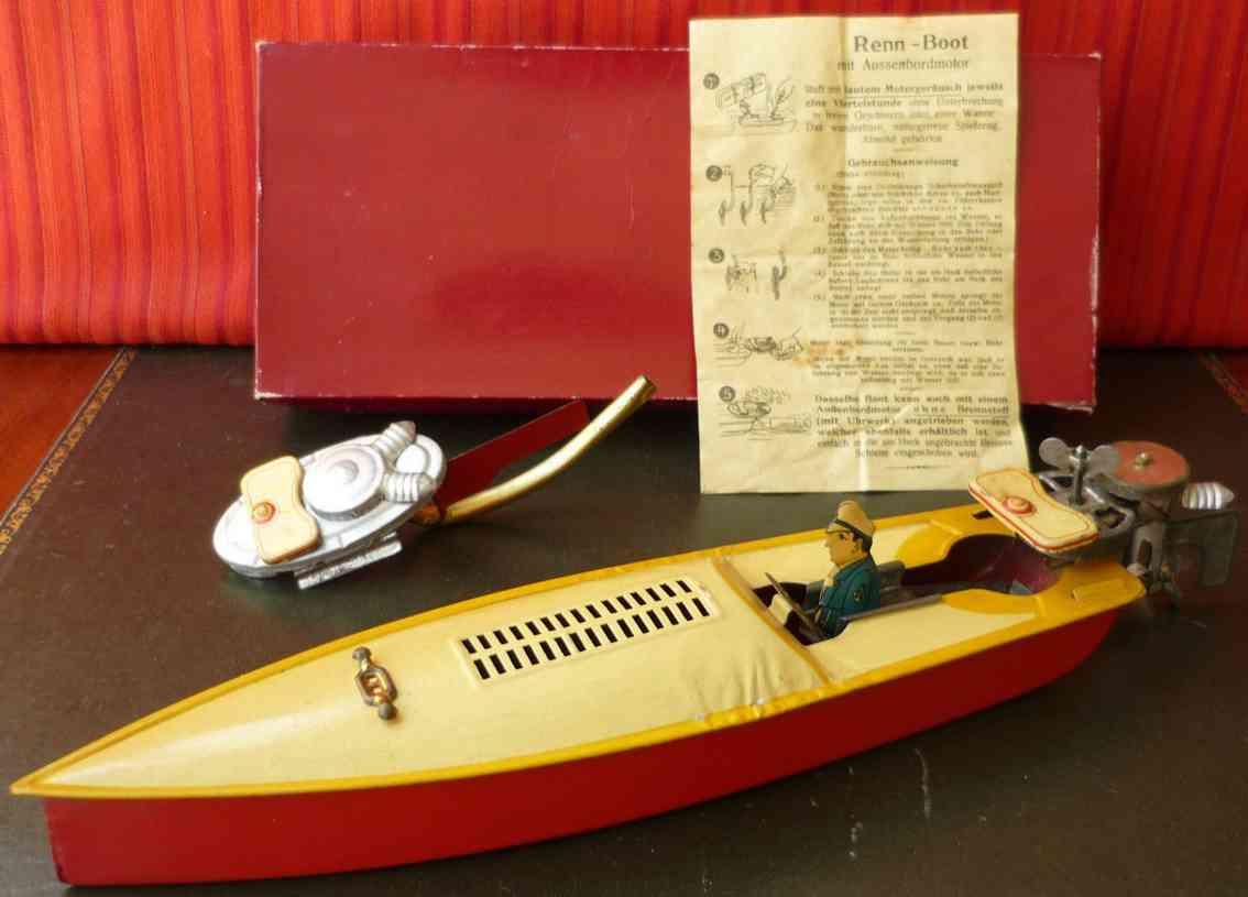 arnold blech spielzeug aussenbordmotor rennboot uhrwerk