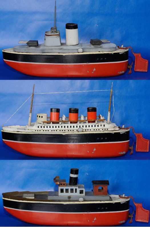 arnold blech spielzeug schiff boot set 3 aufsaetze