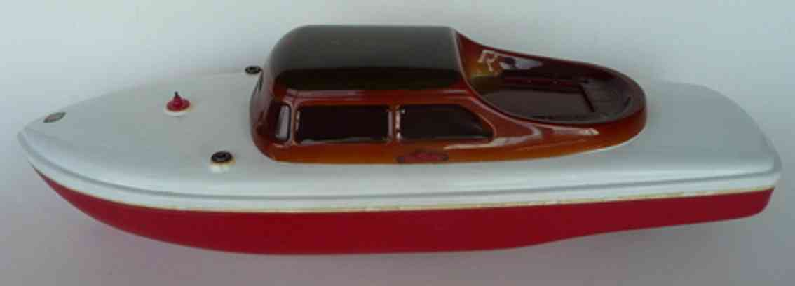 arnold celluloid toy ship radarmaster yacht radio-remote-controlled speedboat, trunk a