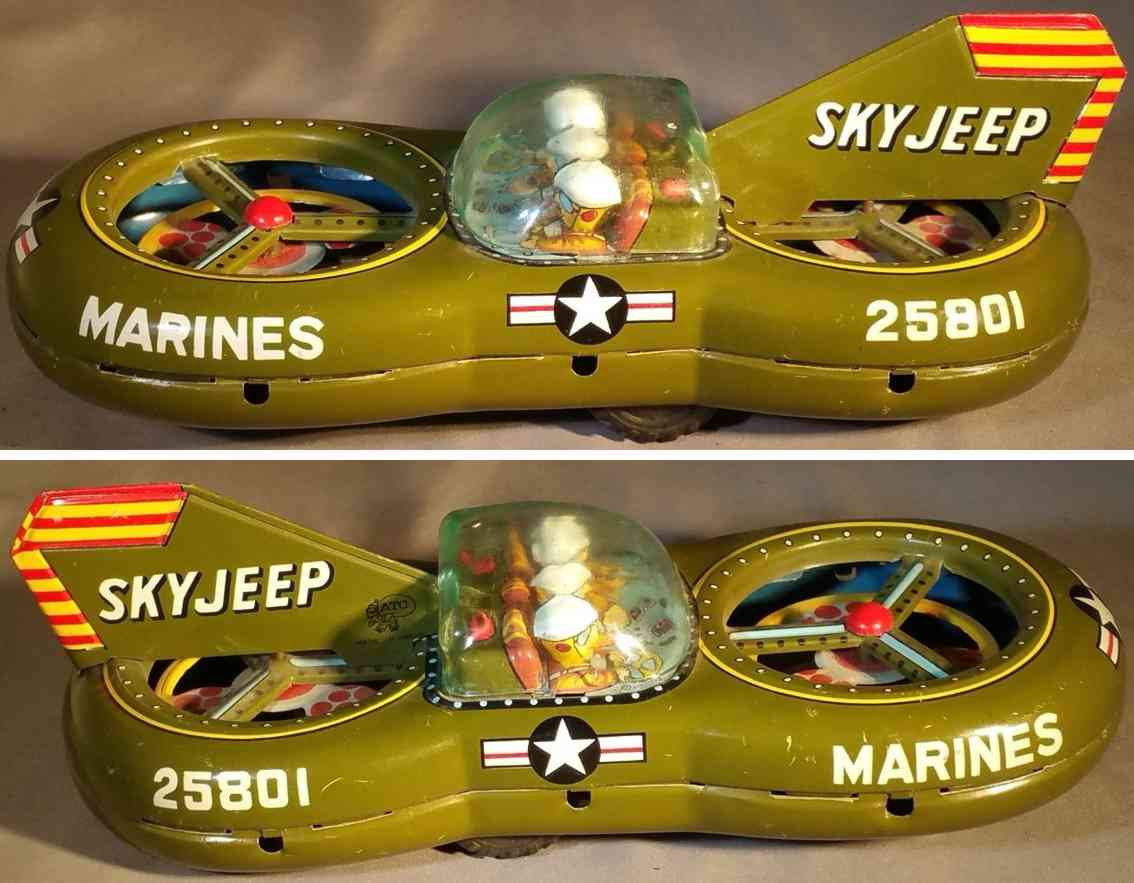 asahi atc 25801 tin toy marine hover craft sky jeep