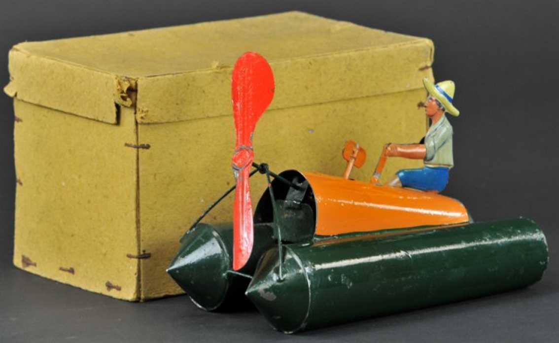 bing 10/327 blech spielzeug schiff  ponton boot