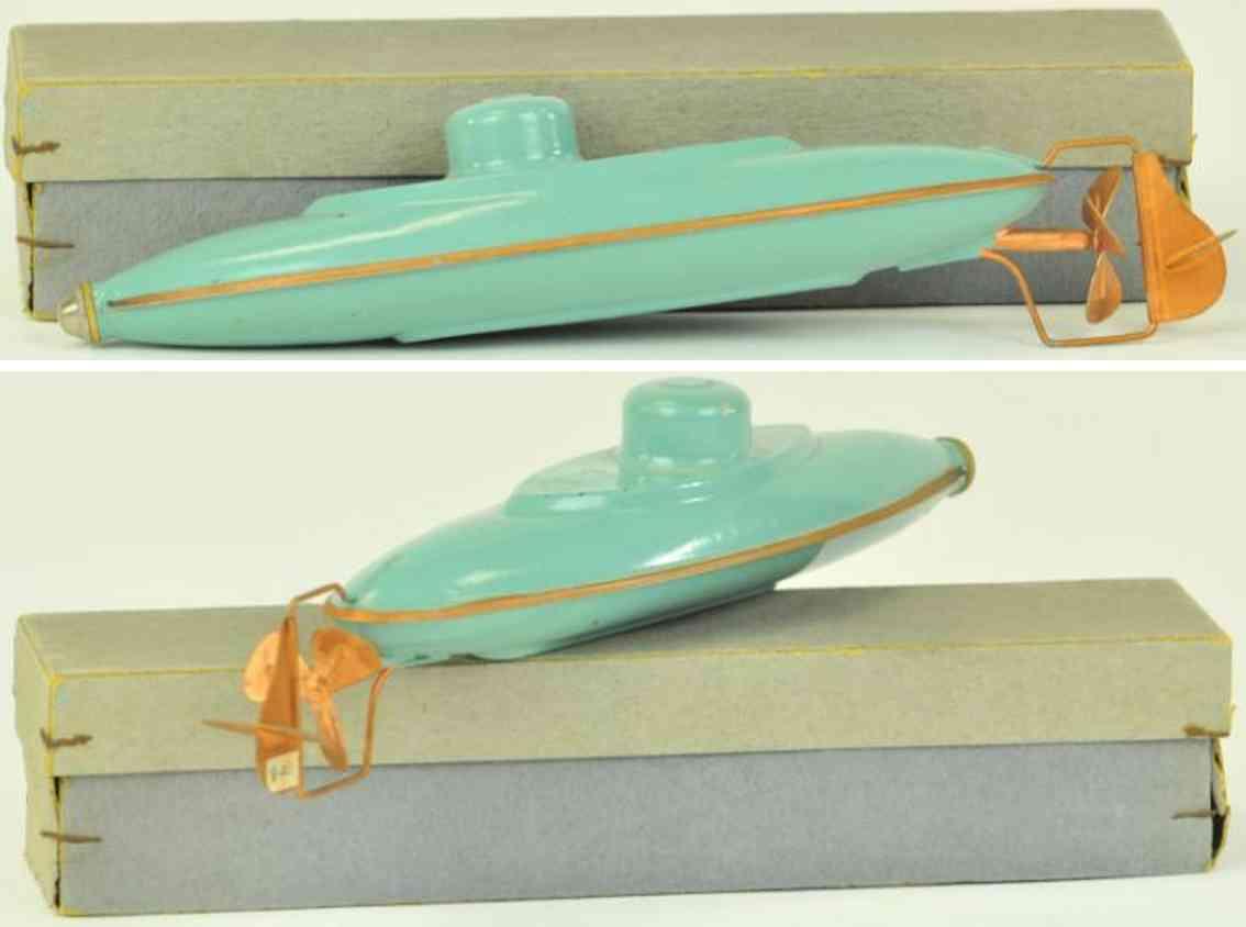 bing 10/340, blech spielzeug u-boot blaugruen