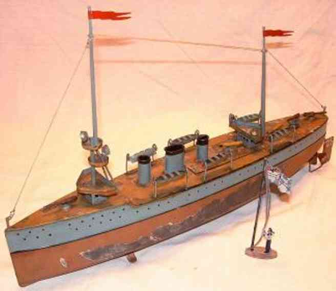 bing 10/343/3 tin toy light cruiser warship