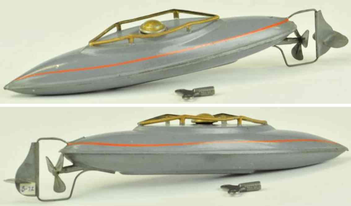 bing 10/344/1 blech spielzeug u-boot grau