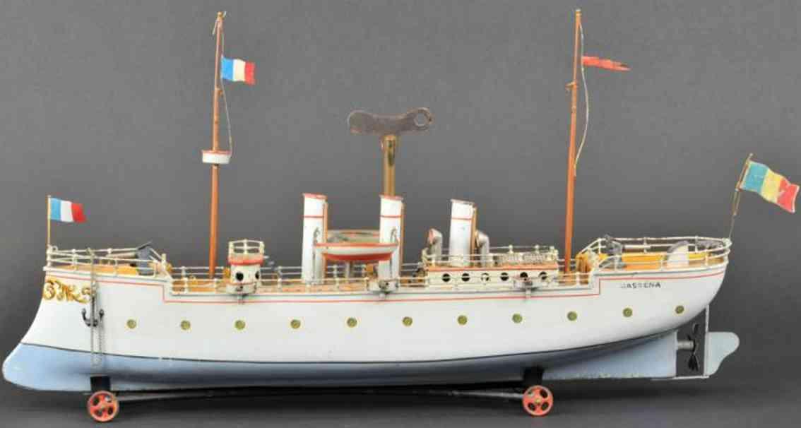 bing 130/2 blech spielzeug schiff kanonenboot massena uhrwerk