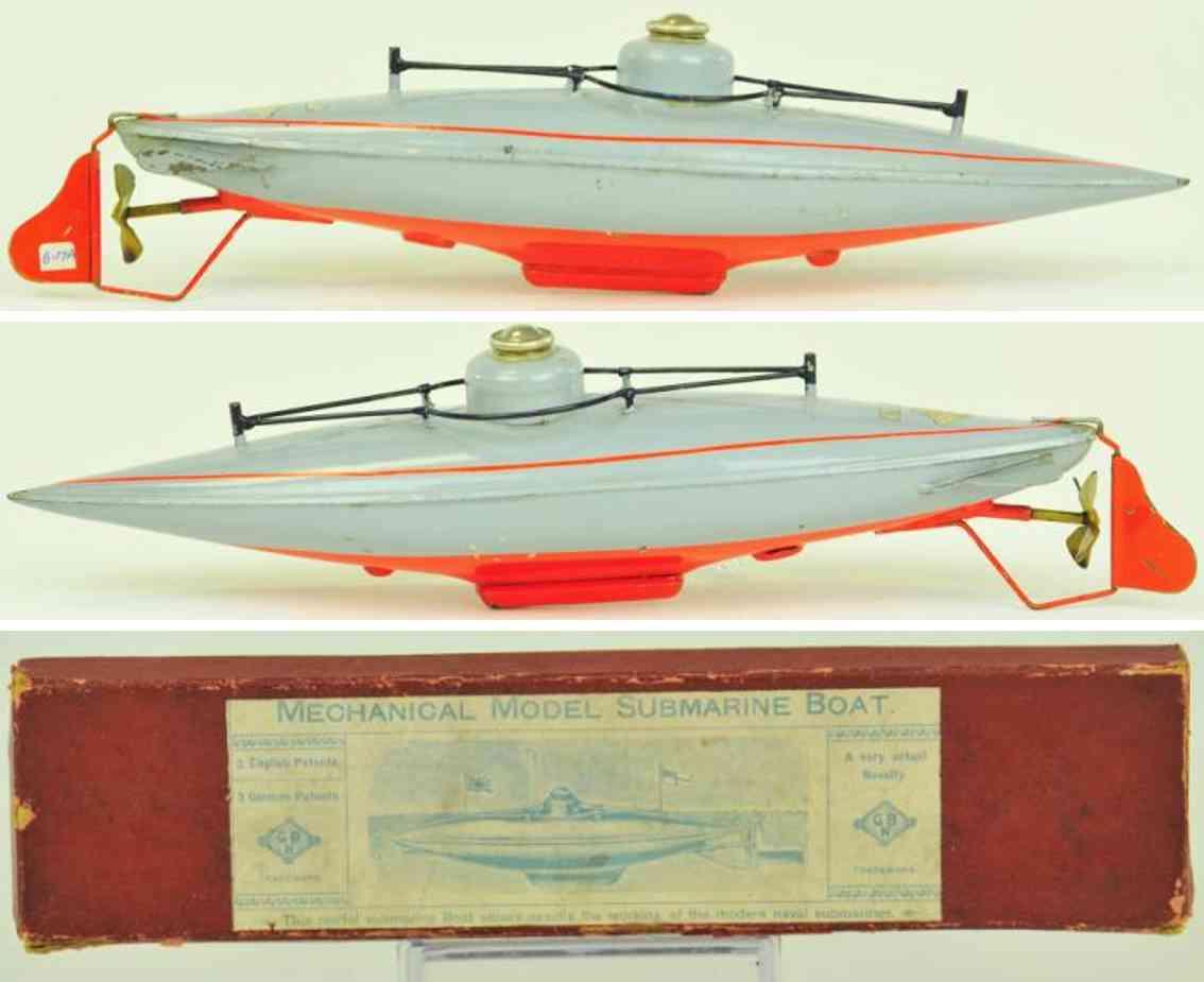 bing 13331/1 blech spielzeug u-boot grau uhrwerk