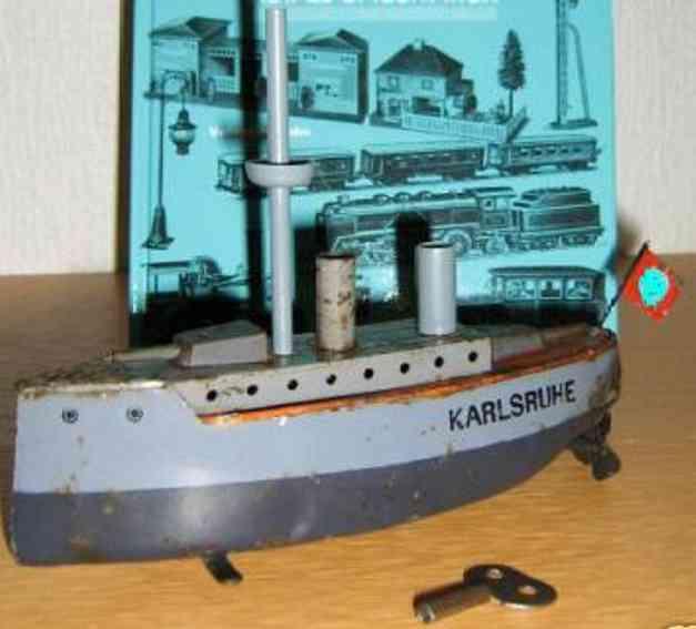 bing 155/732 blech spielzeug kriegsschiff karlsruhe uhrwerk
