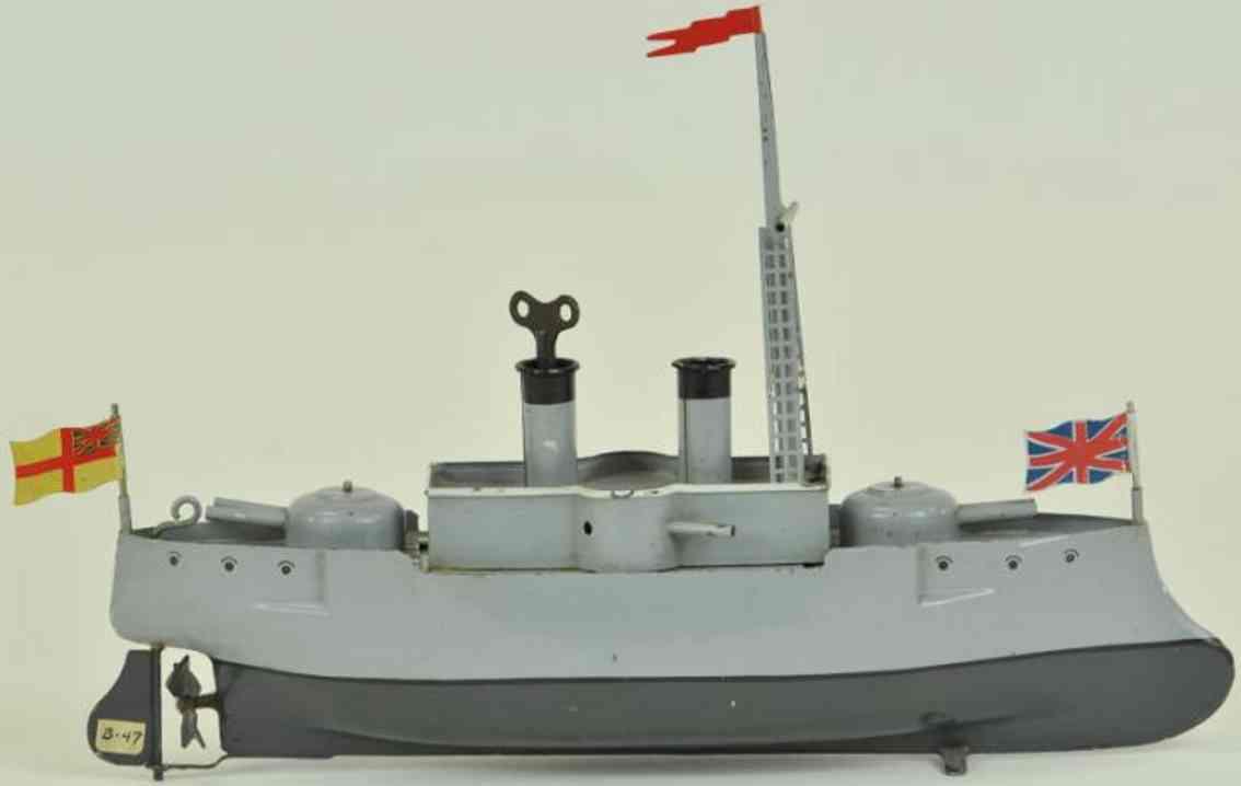 bing 155/111 blech spielzeug schiff panzerkreuzer  grau uhrwerk