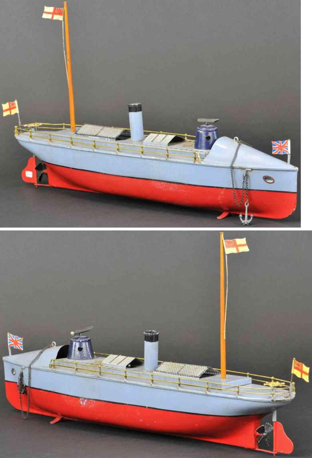 bing 155/122 blech spielzeug dampbetriebenes torpedoboot grau