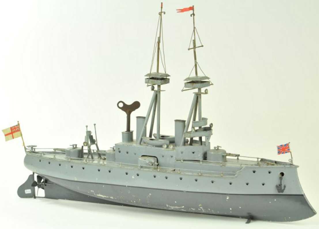 bing 155/124 blech spielzeug kriegsschiff uhrwerk
