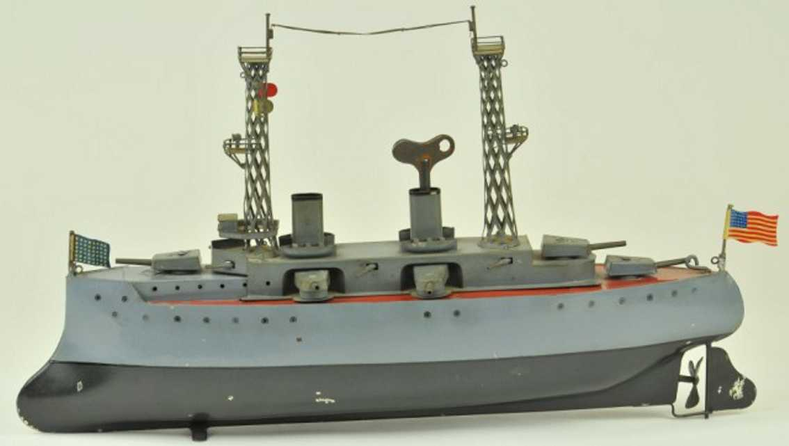 bing 155/125 blech spielzeug kriegsschiff uhrwerk grau