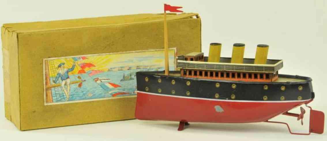 bing 155/133 blech spielzeug schiff ozeandampfer rot schwarz uhrwerk