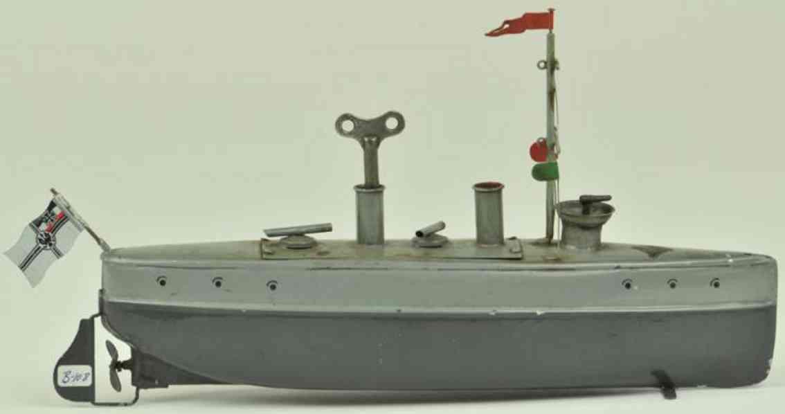 bing 155/141 blech spielzeug torpedoboot grau uhrwerk