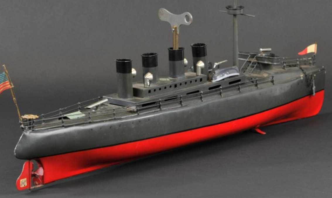bing 155/152 blech zerstoerer kriegsschiff uhrwerk grau
