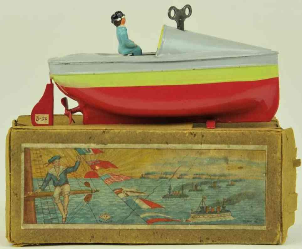 bing 155/21 blech spielzeug rennboot rot gelb