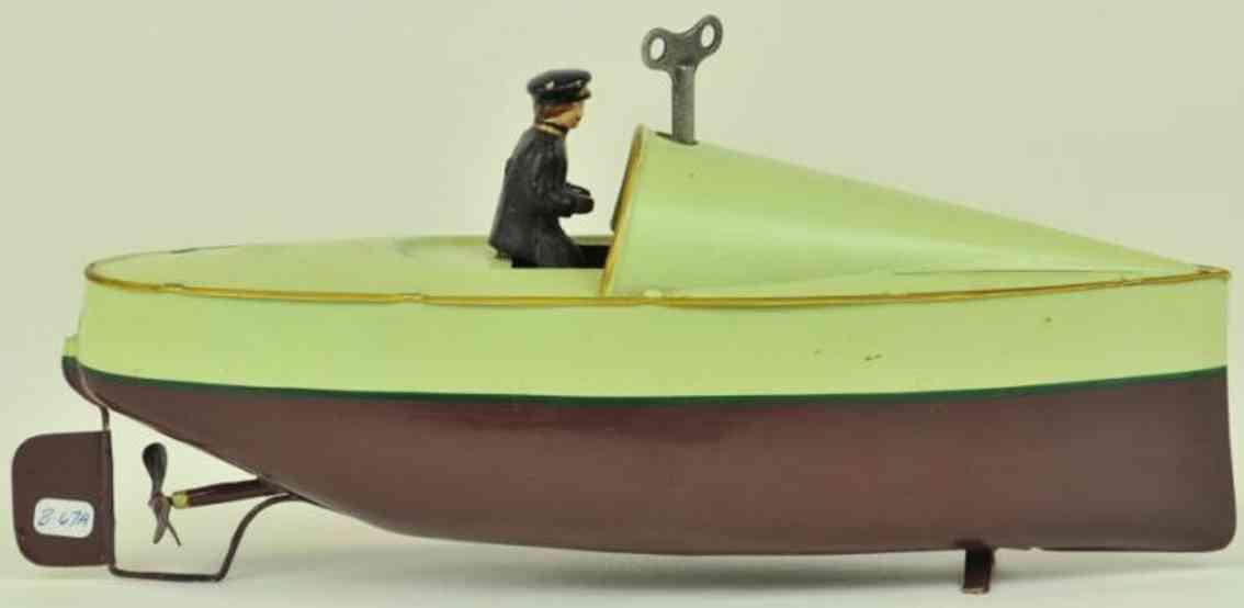 bing 155/23 blech spielzeug rennboot uhrwerk fahrer