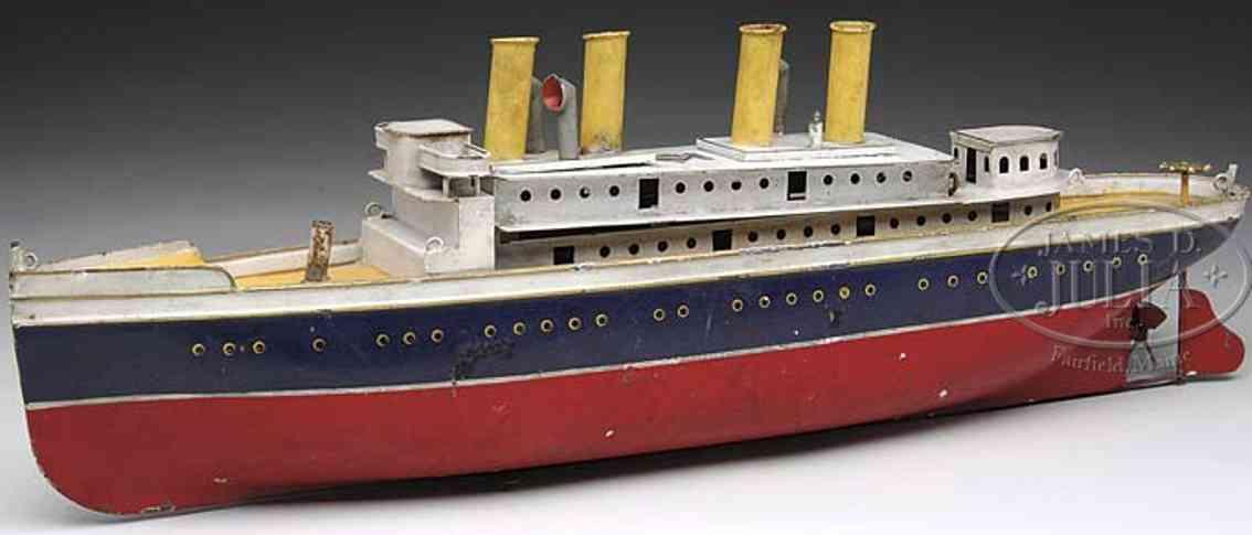 bing 155/352 blech spielzeug uhrwerk-dampfschiff vier schornsteine