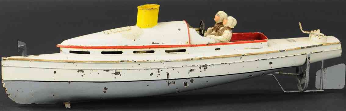 bing 155/36 tin toy ship tin steam powered racer boat two driver figures