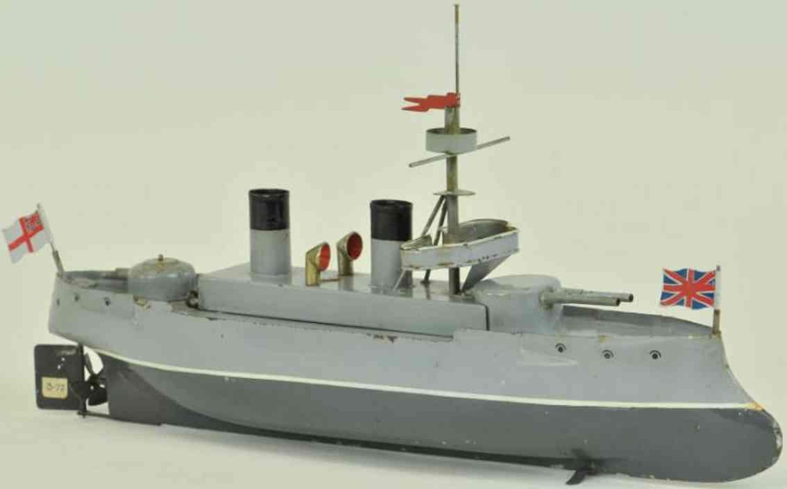 bing 155/382 blech spielzeug schiff kanonenboot uhrwerk