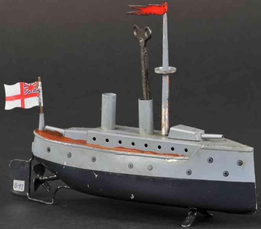bing 155/431 blech spielzeug schiff kriegsschiff grau uhrwerk