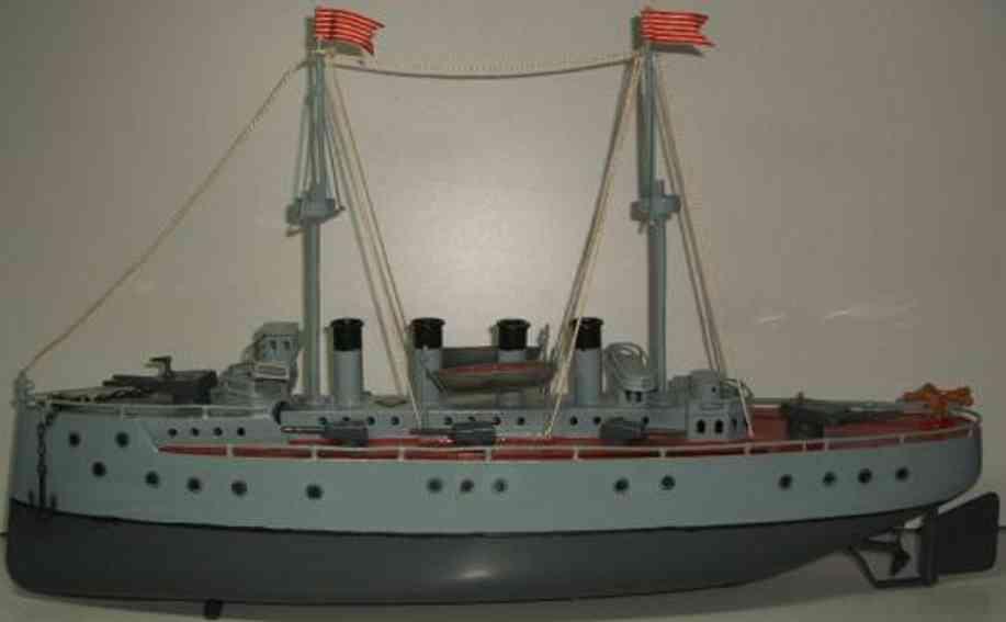 bing 155/442 blech spielzeug schiff panzerkreuzer uhrwerk