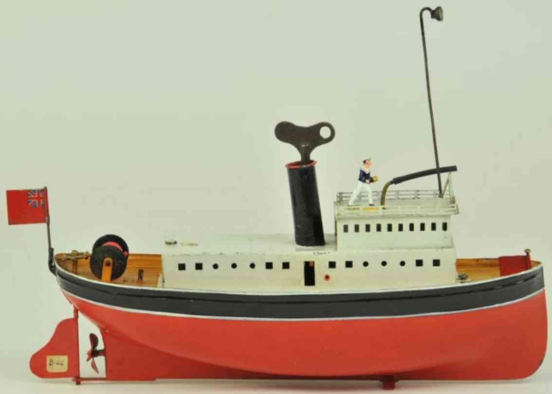 bing 155/603 blech feuerloeschboot rot weiss schwarz uhrwerk