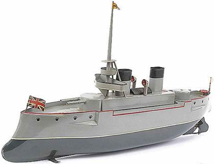 bing 155/383 blech spielzeug kreuzerschlachtschiff grau uhrwerk
