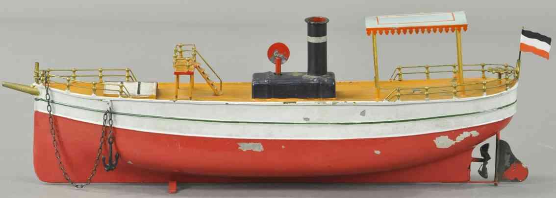 bing 155/?? blech spielzeug frühes flussboot baldachin