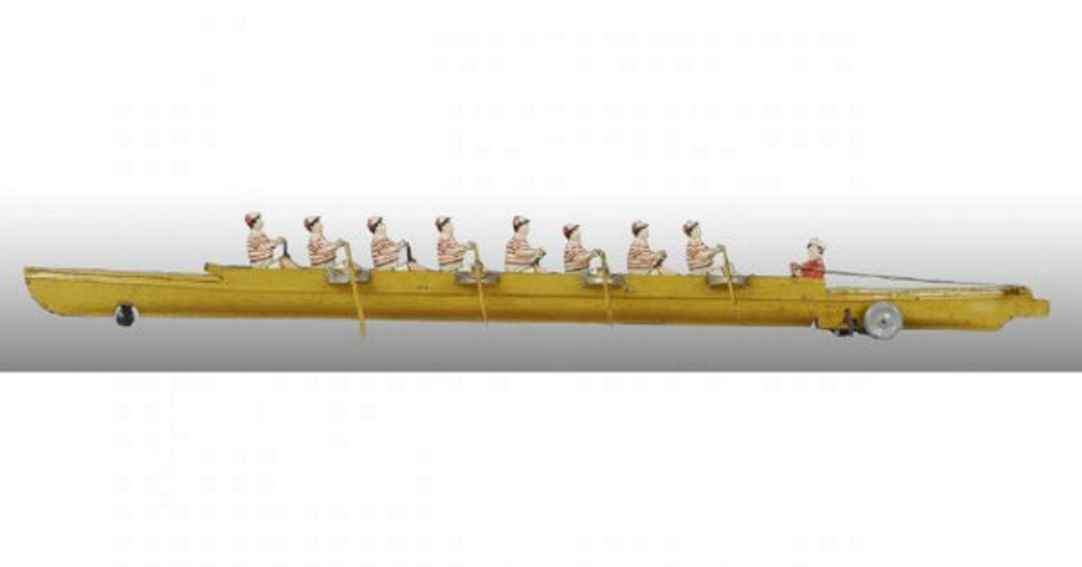 bing tin toy rowing scull with wind-up 8 rowers clockwork