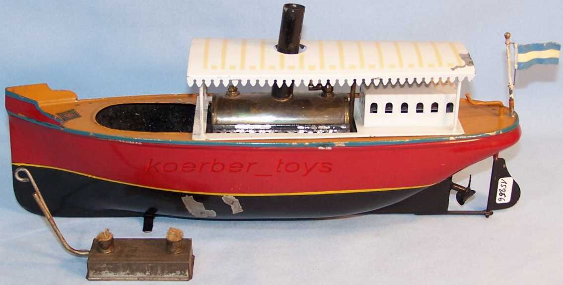 bing 155/41 tin toy turbine steam barge in red brown white