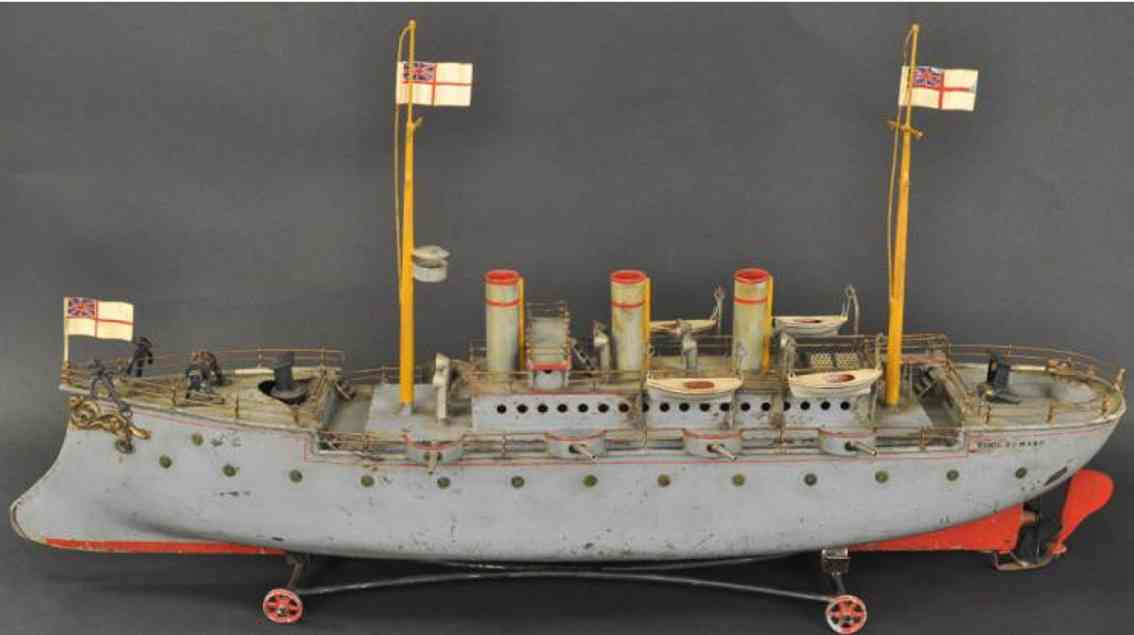 bing 13080/3  tin toy battle ship gunboat king edward