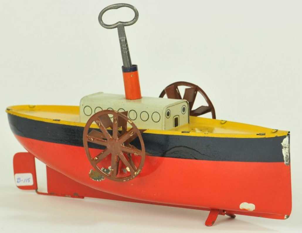 bing 10/337/3 tin toy ship paddle wheeler clockwork