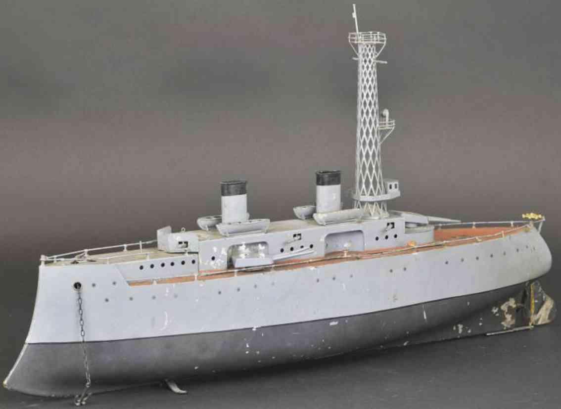 bing blech spielzeug gepanzertes kriegsschiff uhrwerk