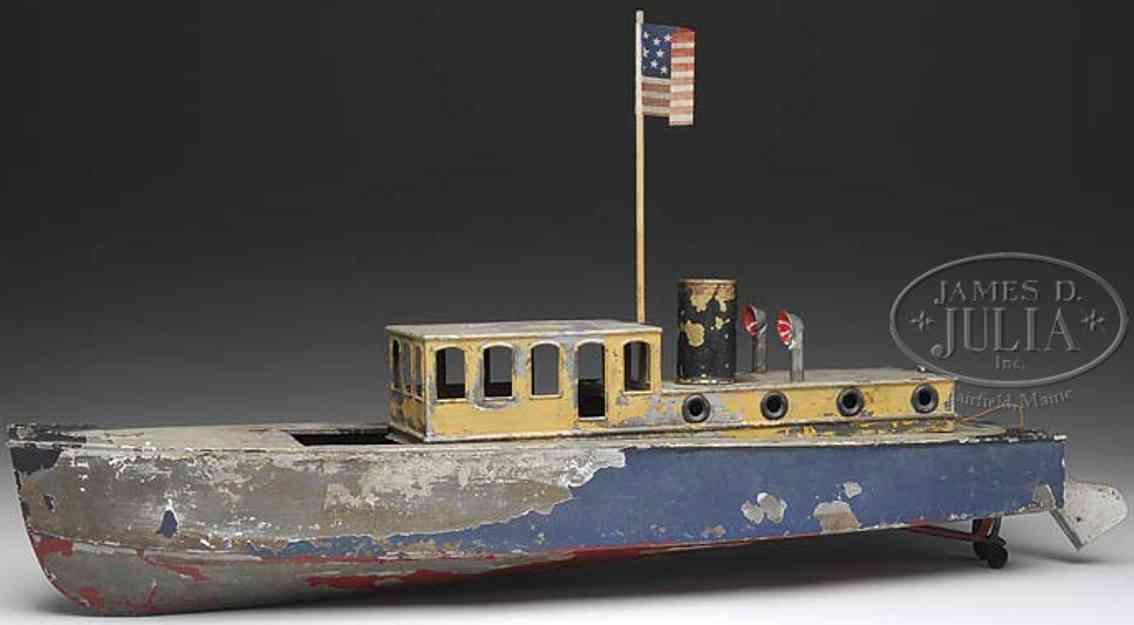 boucher he mfg co tin toy ship cabin cruiser