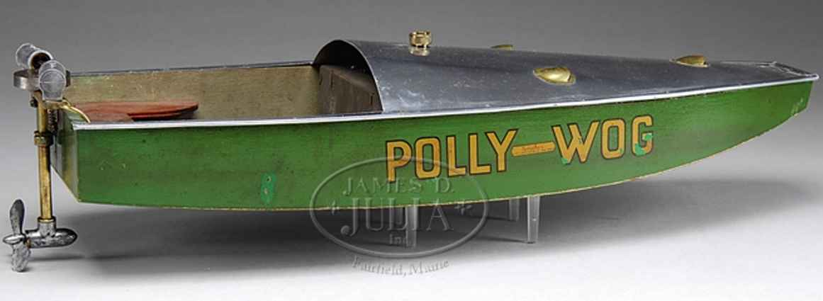 boucher he mfg co tin toy ship polly-wog, speed boat
