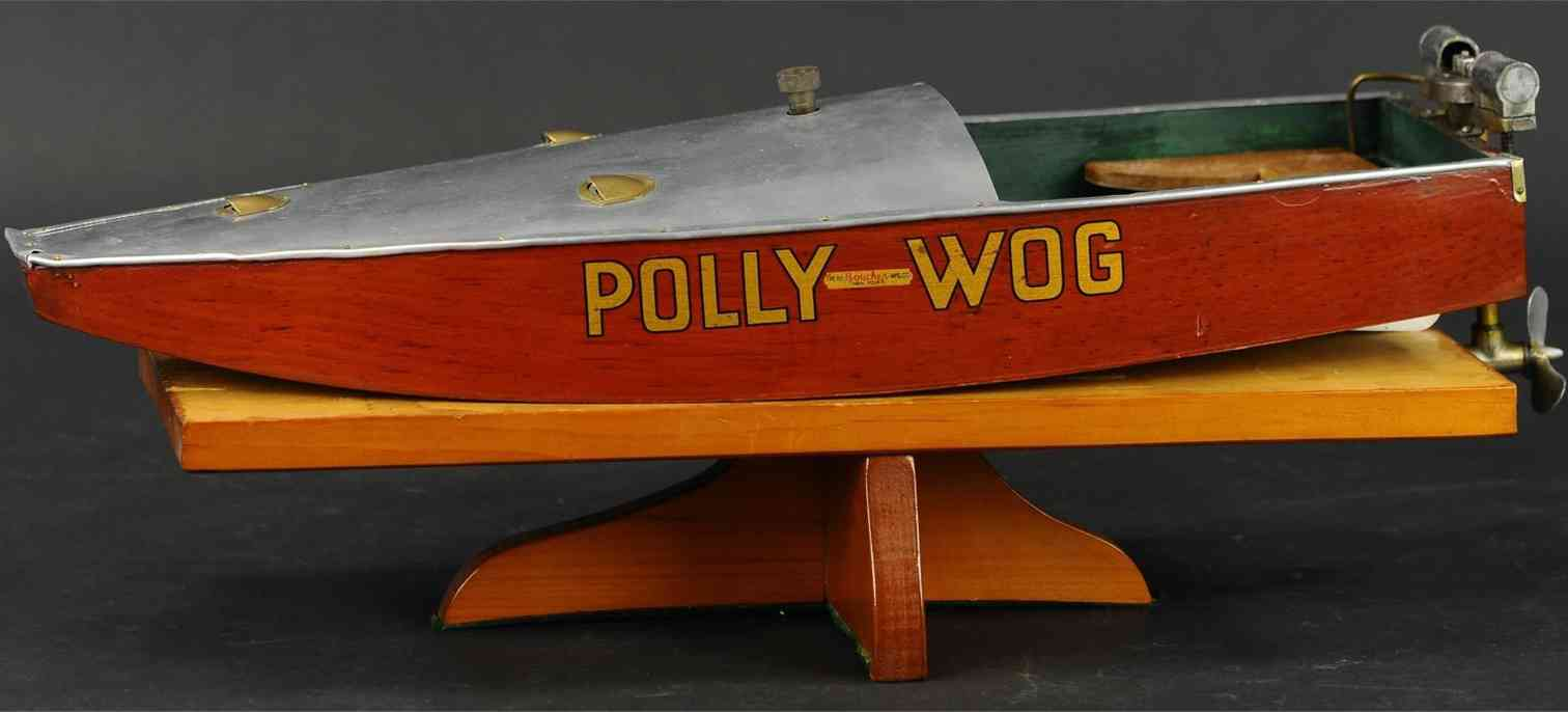 boucher he mfg co polly-wog blech spielzeug altes spielzeugboot