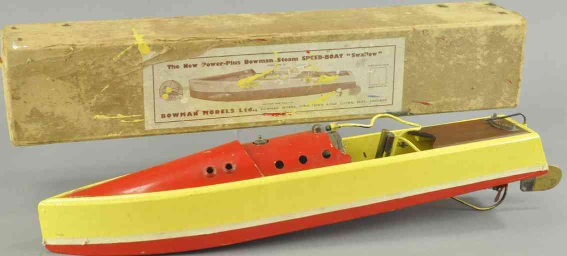 bowman sthalblech holz spielzeug schnellboot swallow gelb rot
