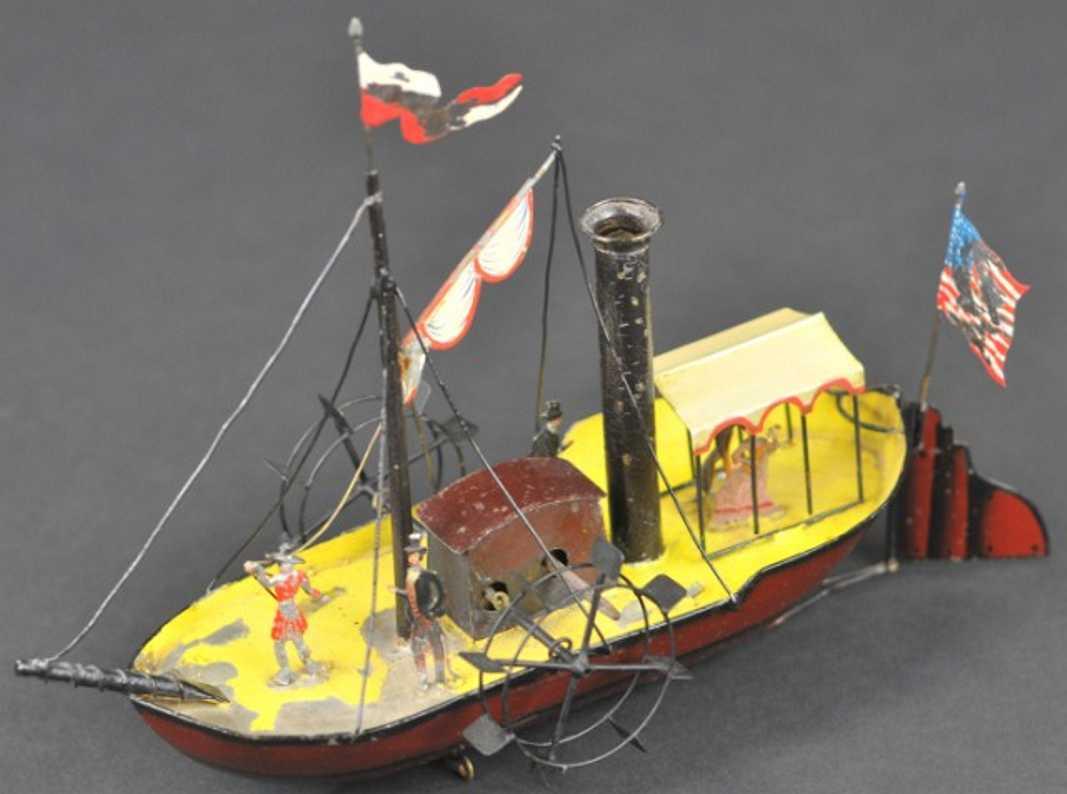 buchner blech spielzeug schiff schaufelraddampfer uhrwerk