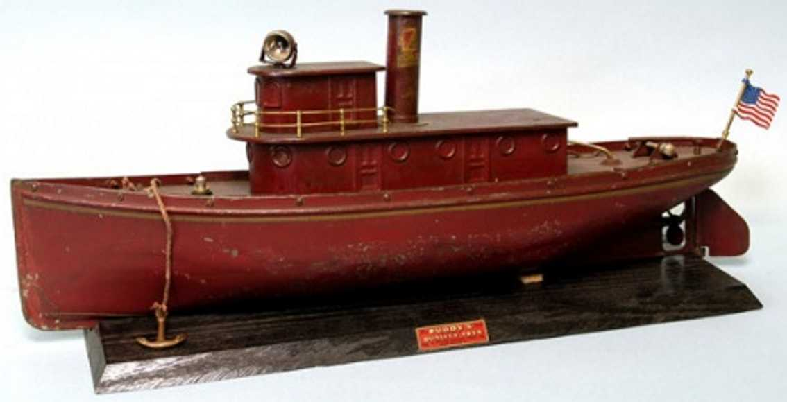 buddy l tin toy tugboat in red
