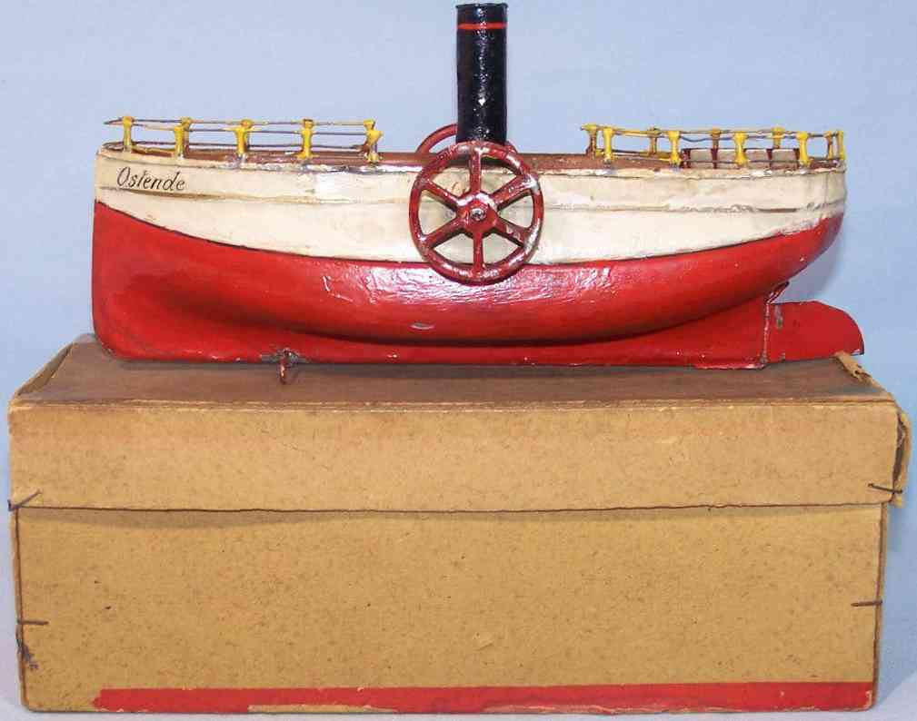 carette 731/1 tin toy ship paddle-wheel boat ostende red white