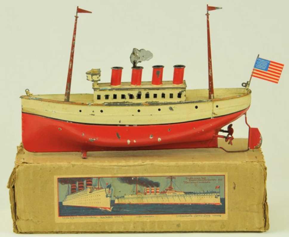 carette 732/28 tin toy ship boxed liner