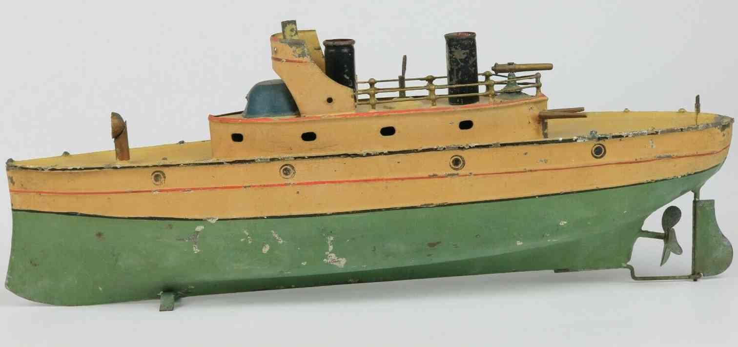 carette blech spielzeug kanonenboot uhrwerk beige gruen