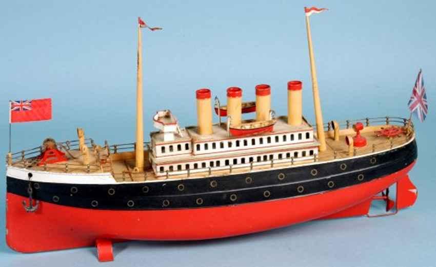 carette blech spielzeug passagierdampfer rot schwarz